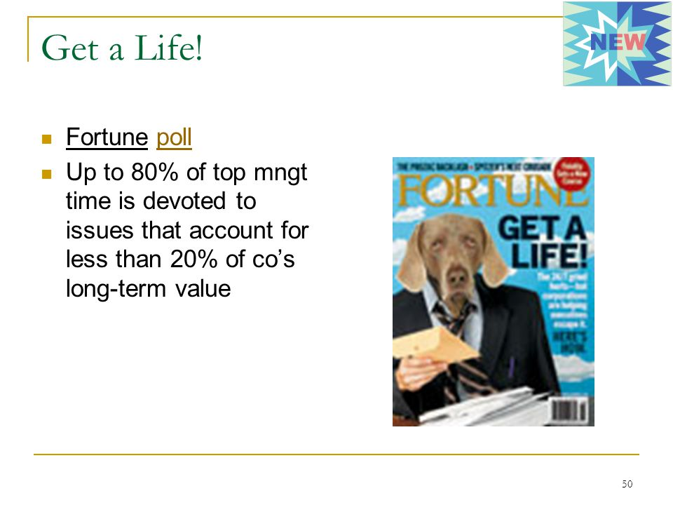 50 Get a Life! Fortune pollpoll Up to 80% of top mngt time is devoted to issues that account for less than 20% of co's long-term value