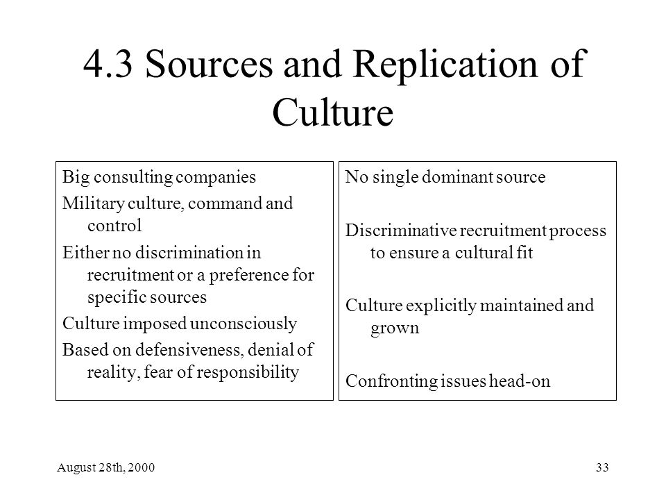 August 28th, 200033 4.3 Sources and Replication of Culture Big consulting companies Military culture, command and control Either no discrimination in recruitment or a preference for specific sources Culture imposed unconsciously Based on defensiveness, denial of reality, fear of responsibility No single dominant source Discriminative recruitment process to ensure a cultural fit Culture explicitly maintained and grown Confronting issues head-on