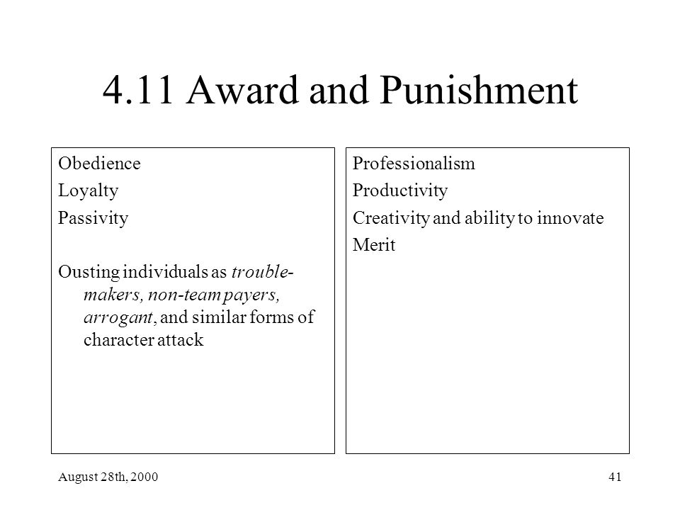 August 28th, 200041 4.11 Award and Punishment Obedience Loyalty Passivity Ousting individuals as trouble- makers, non-team payers, arrogant, and similar forms of character attack Professionalism Productivity Creativity and ability to innovate Merit