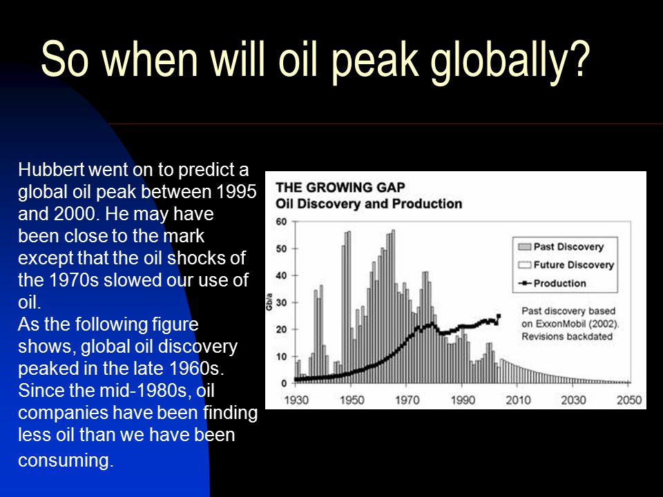 So when will oil peak globally. Hubbert went on to predict a global oil peak between 1995 and 2000.
