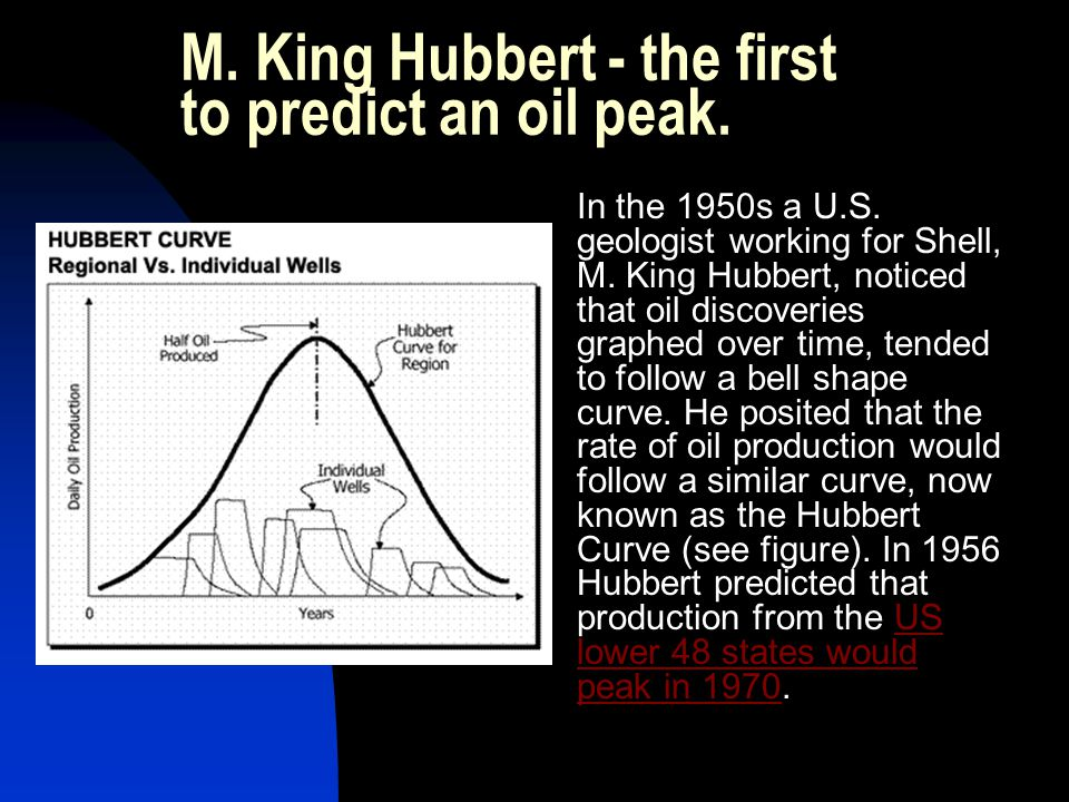 M. King Hubbert - the first to predict an oil peak.