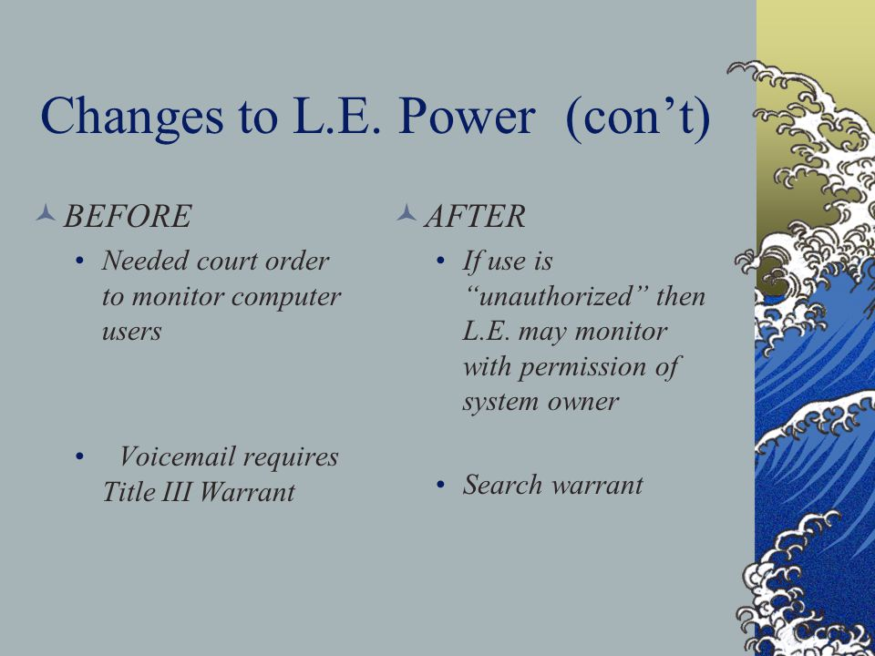 Changes to L.E.