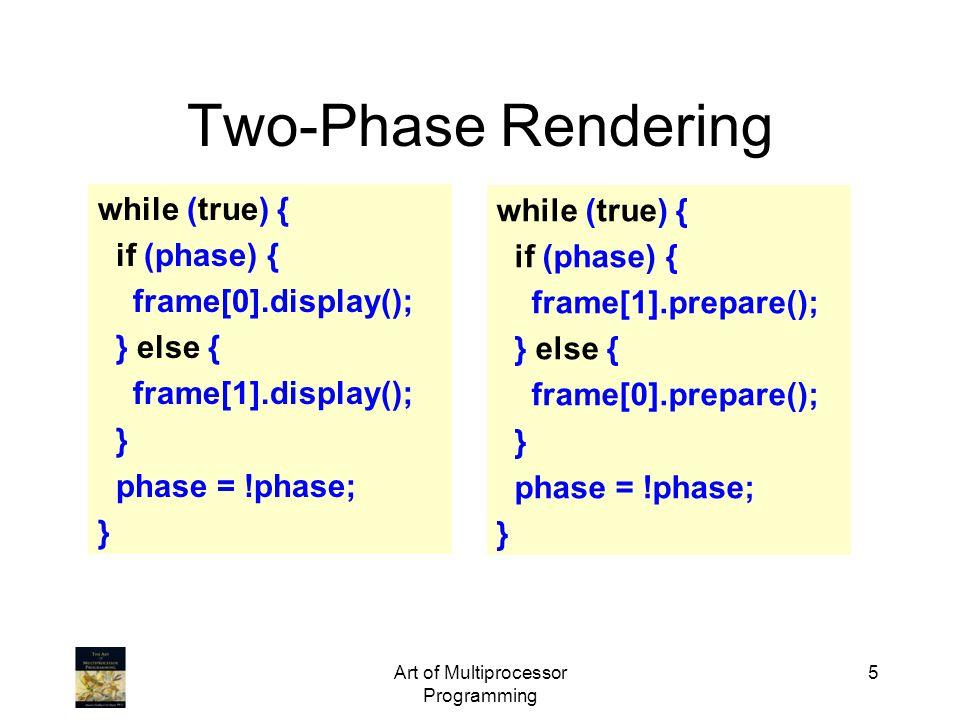 public class Barrier { AtomicInteger count; int size; public Barrier(int n){ count = AtomicInteger(n); size = n; } public void await() { if (count.getAndDecrement()==1) { count.set(size); } else { while (count.get() != 0); }}}} Art of Multiprocessor Programming 36 Barriers Principal method