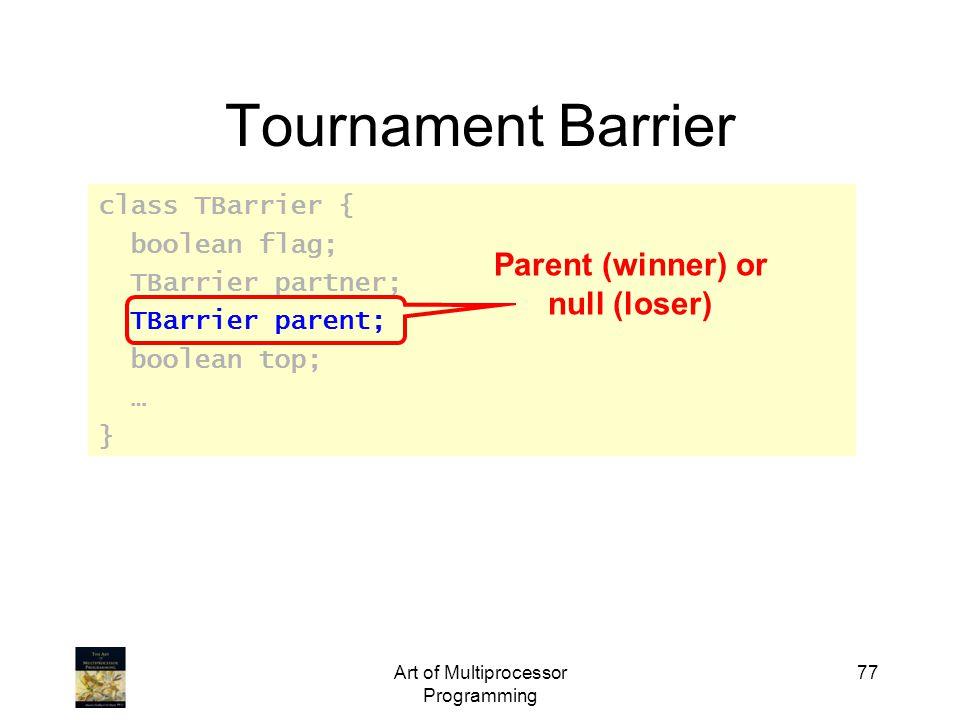Art of Multiprocessor Programming 77 Tournament Barrier class TBarrier { boolean flag; TBarrier partner; TBarrier parent; boolean top; … } Parent (winner) or null (loser)