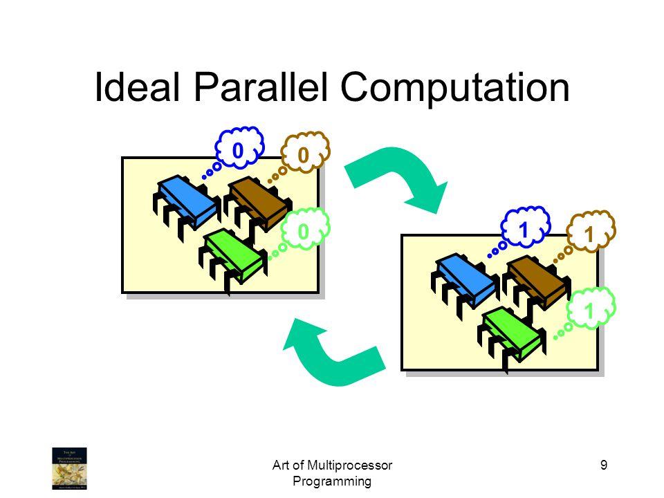 public class Barrier { AtomicInteger count; int size; boolean sense = false; threadSense = new ThreadLocal … public void await { boolean mySense = threadSense.get(); if (count.getAndDecrement()==1) { count.set(size); sense = mySense } else { while (sense != mySense) {} } threadSense.set(!mySense)}}} Art of Multiprocessor Programming 50 Sense-Reversing Barriers Get new sense determined by last phase