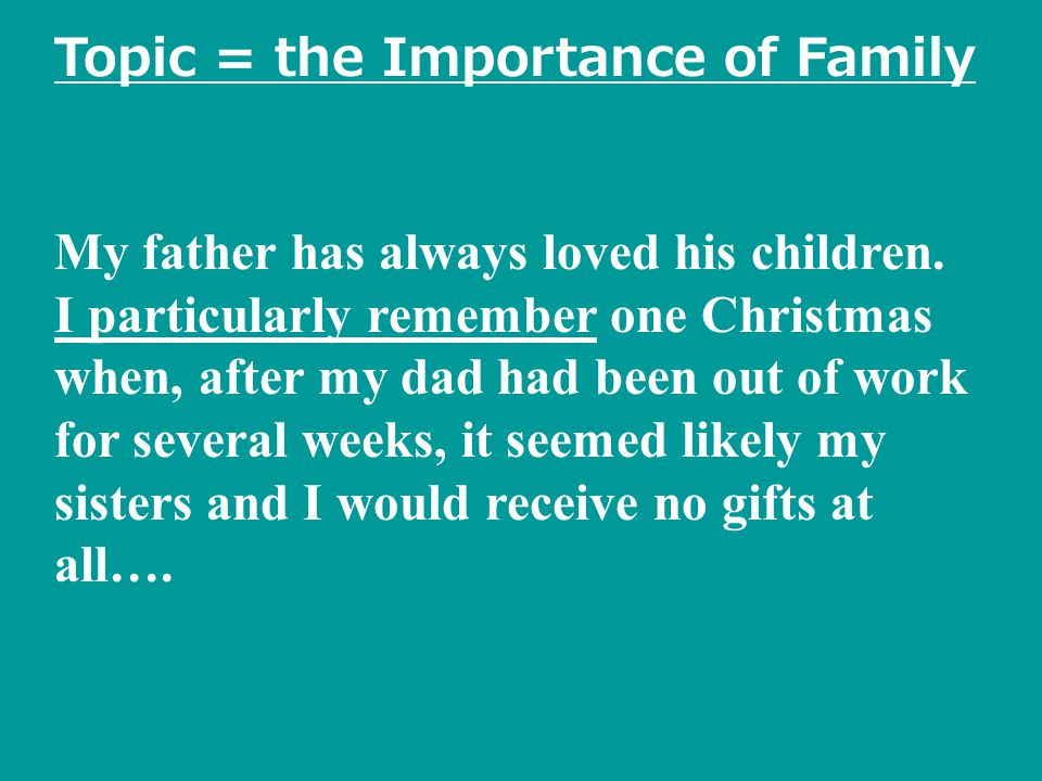 Topic = the Importance of Family My father has always loved his children.