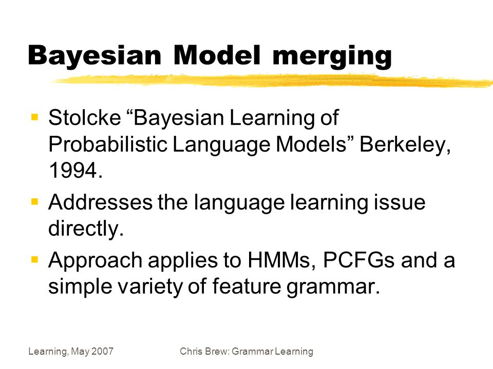 Learning, May 2007Chris Brew: Grammar Learning Priors  You are given a coin… Casino Prior Ordinary Prior N=0 Posterior (N=50)
