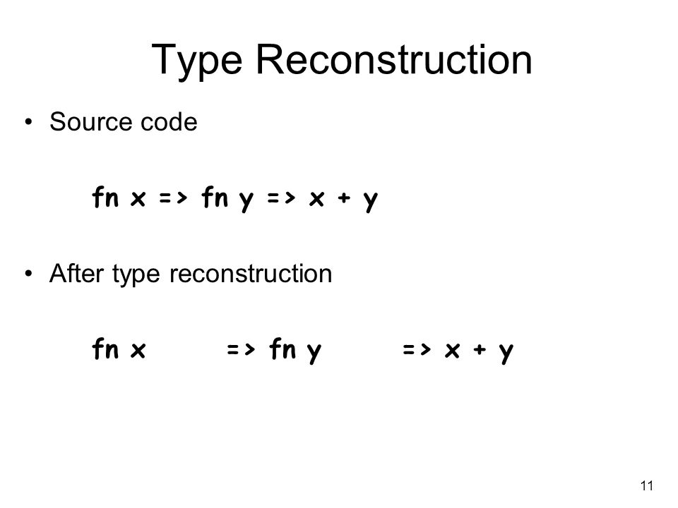 11 Type Reconstruction Source code fn x => fn y => x + y After type reconstruction fn x : int => fn y : int => x + y : int -> int -> int