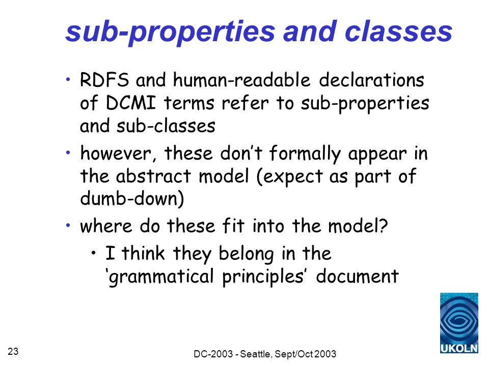 DC-2003 - Seattle, Sept/Oct 2003 23 sub-properties and classes RDFS and human-readable declarations of DCMI terms refer to sub-properties and sub-classes however, these don't formally appear in the abstract model (expect as part of dumb-down) where do these fit into the model.