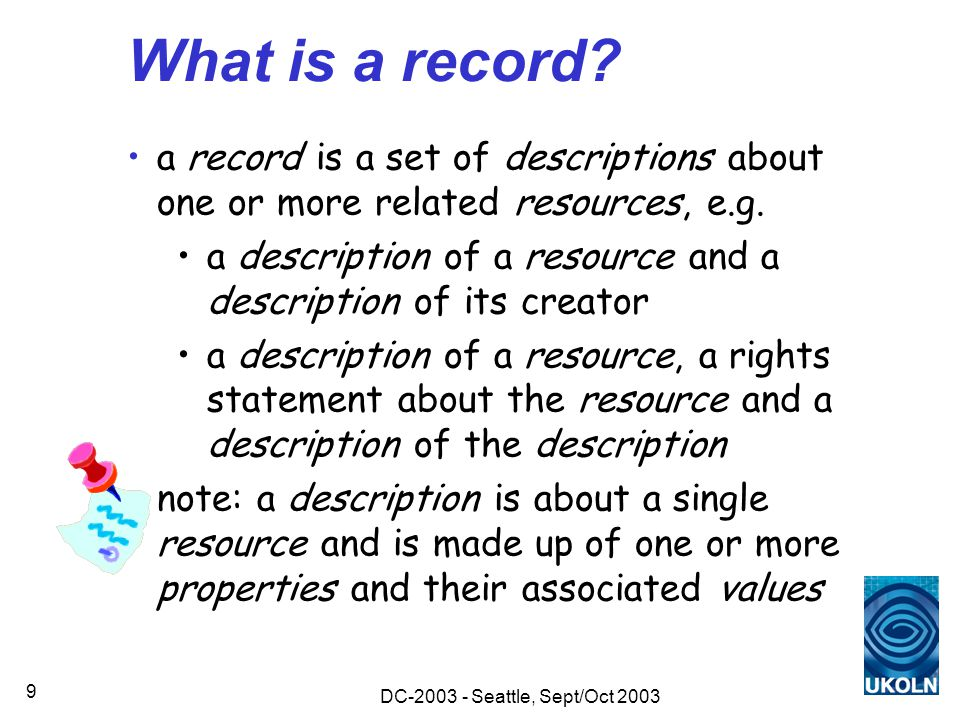DC-2003 - Seattle, Sept/Oct 2003 9 What is a record.