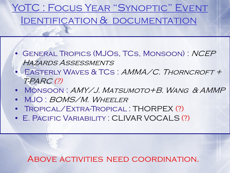 General Tropics (MJOs, TCs, Monsoon) : NCEP Hazards Assessments Easterly Waves & TCs : AMMA/C.