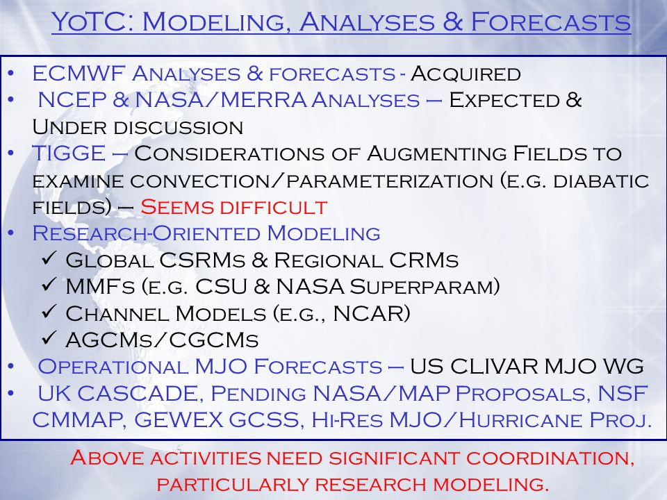 ECMWF Analyses & forecasts - Acquired NCEP & NASA/MERRA Analyses – Expected & Under discussion TIGGE – Considerations of Augmenting Fields to examine convection/parameterization (e.g.