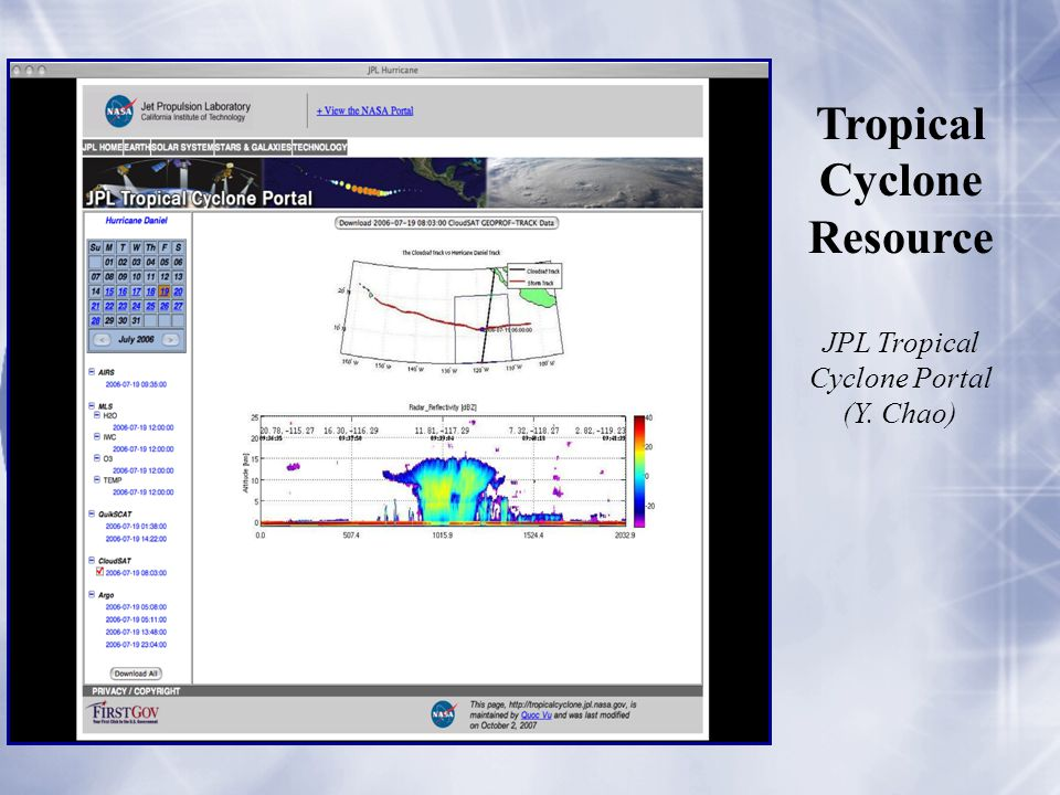 JPL Tropical Cyclone Portal (Y. Chao) Tropical Cyclone Resource