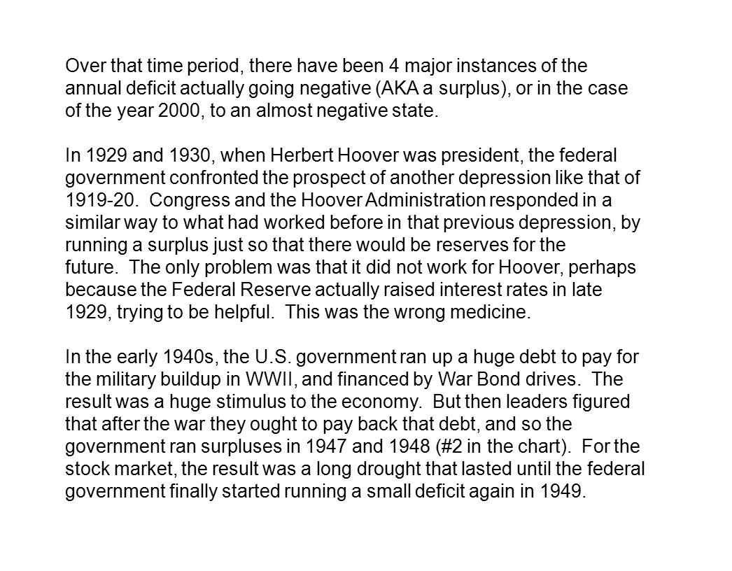Over that time period, there have been 4 major instances of the annual deficit actually going negative (AKA a surplus), or in the case of the year 2000, to an almost negative state.