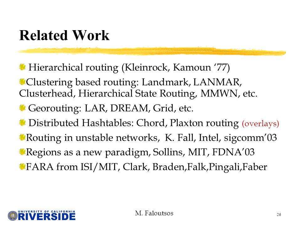 M. Faloutsos 26 Hierarchical routing (Kleinrock, Kamoun '77) Clustering based routing: Landmark, LANMAR, Clusterhead, Hierarchical State Routing, MMWN