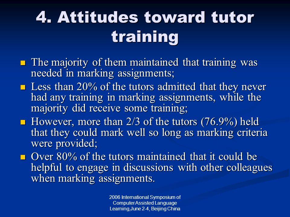 2006 International Symposium of Computer Assisted Language Learning,June 2-4, Beijing China 4. Attitudes toward tutor training The majority of them ma