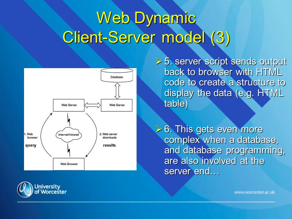 Web Dynamic Client-Server model (3)  5.
