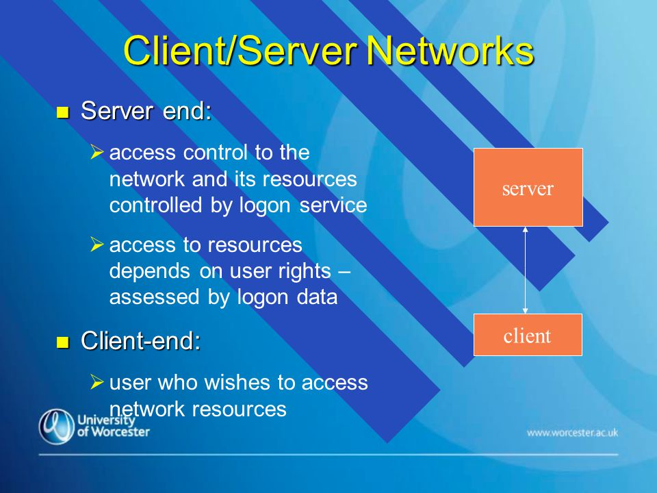 Client/Server Networks n Server end:   access control to the network and its resources controlled by logon service   access to resources depends on user rights – assessed by logon data n Client-end:   user who wishes to access network resources server client