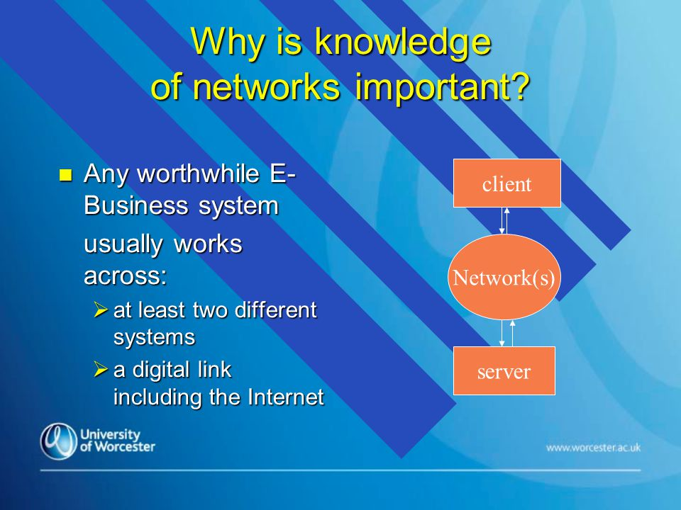 Why is knowledge of networks important.
