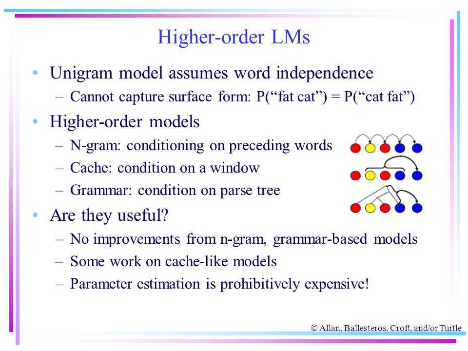 " Allan, Ballesteros, Croft, and/or Turtle Higher-order LMs Unigram model assumes word independence –Cannot capture surface form: P(""fat cat"") = P(""ca"