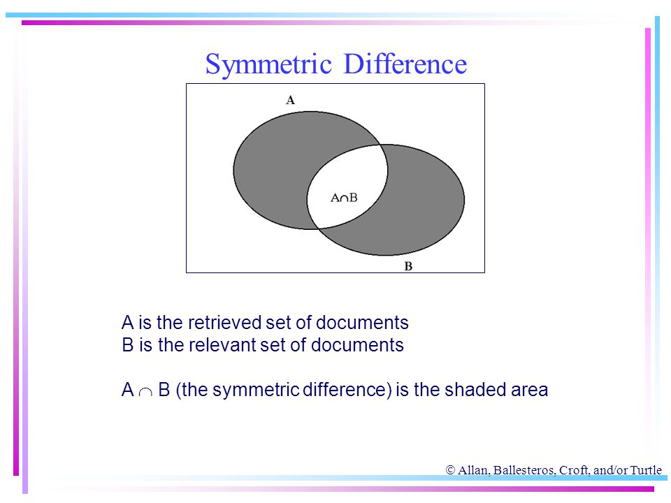  Allan, Ballesteros, Croft, and/or Turtle Symmetric Difference A is the retrieved set of documents B is the relevant set of documents A  B (the symm