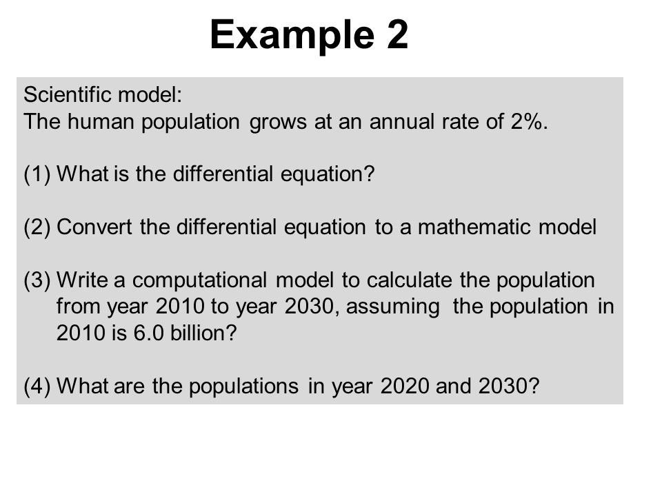 Example 2 Scientific model: The human population grows at an annual rate of 2%.