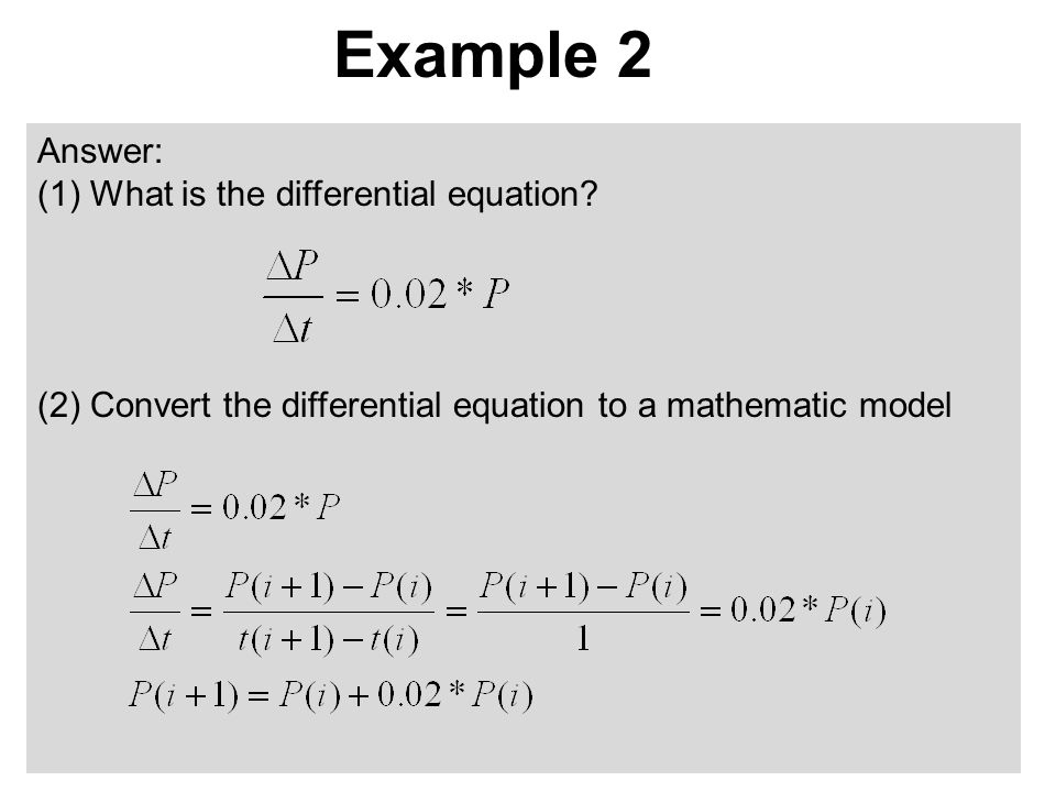 Example 2 Answer: (1) What is the differential equation.