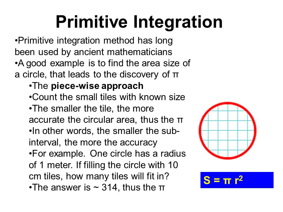 Primitive Integration Primitive integration method has long been used by ancient mathematicians A good example is to find the area size of a circle, t
