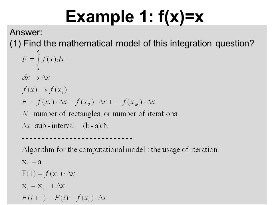 Answer: (1)Find the mathematical model of this integration question? Example 1: f(x)=x