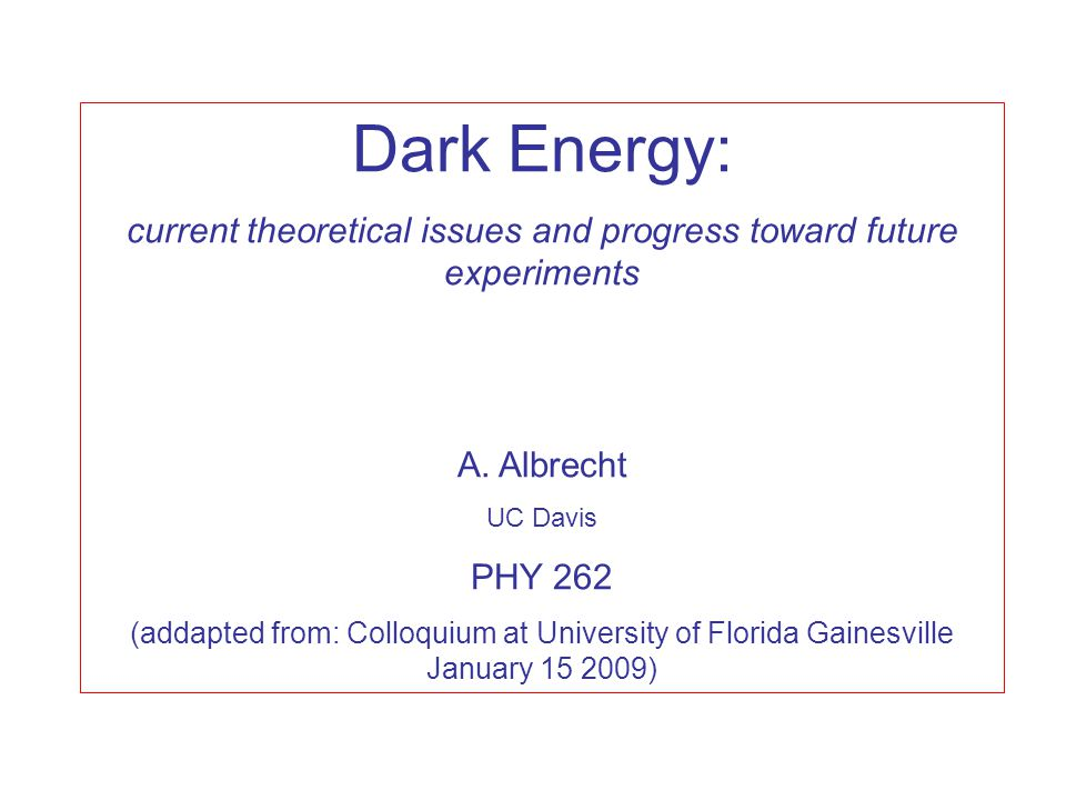 This talk Part 1: A few attempts to explain dark energy - Motivations, problems and other comments  Theme: We may not know where this revolution is taking us, but it is already underway: Part 2 Planning new experiments - DETF - Next questions  Rigorous quantitative case for Stage 4 (i.e.