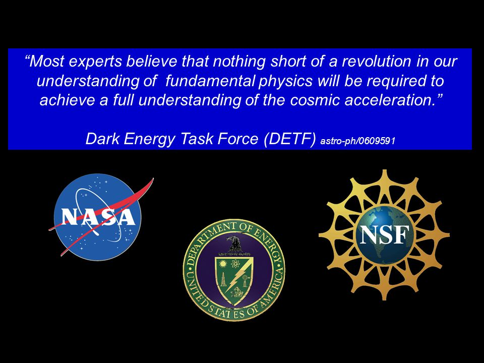 The Dark Energy Task Force (DETF)  Created specific simulated data sets (Stage 2, Stage 3, Stage 4)  Assessed their impact on our knowledge of dark energy as modeled with the w0-wa parameters Followup questions:  In what ways might the choice of DE parameters biased the DETF results.