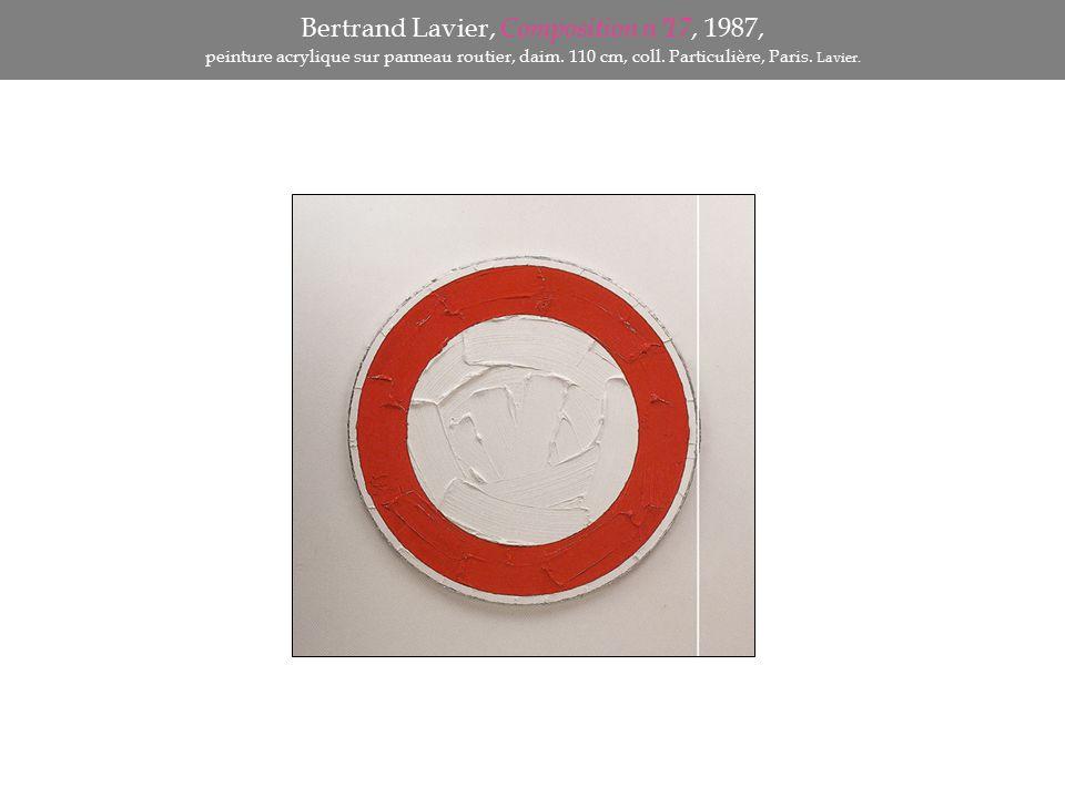 Bertrand Lavier, Composition n°17, 1987, peinture acrylique sur panneau routier, daim. 110 cm, coll. Particulière, Paris. Lavier.