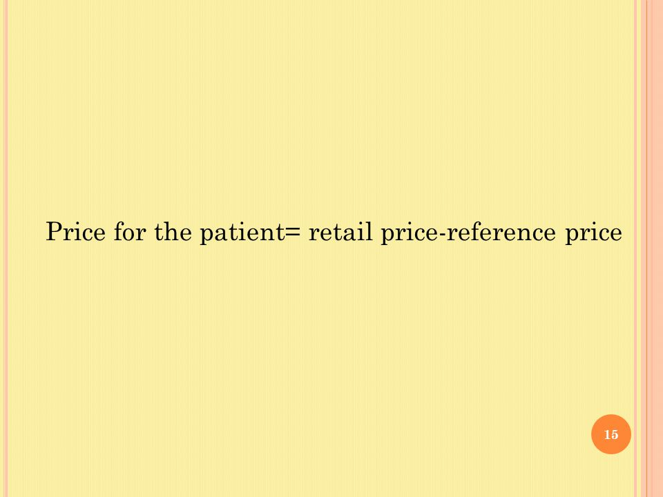 15 Price for the patient= retail price-reference price