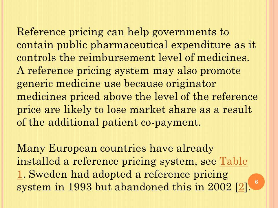 6 Reference pricing can help governments to contain public pharmaceutical expenditure as it controls the reimbursement level of medicines.