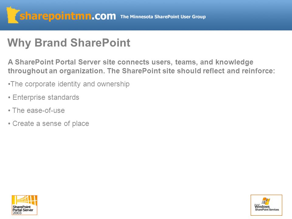 A SharePoint Portal Server site connects users, teams, and knowledge throughout an organization.