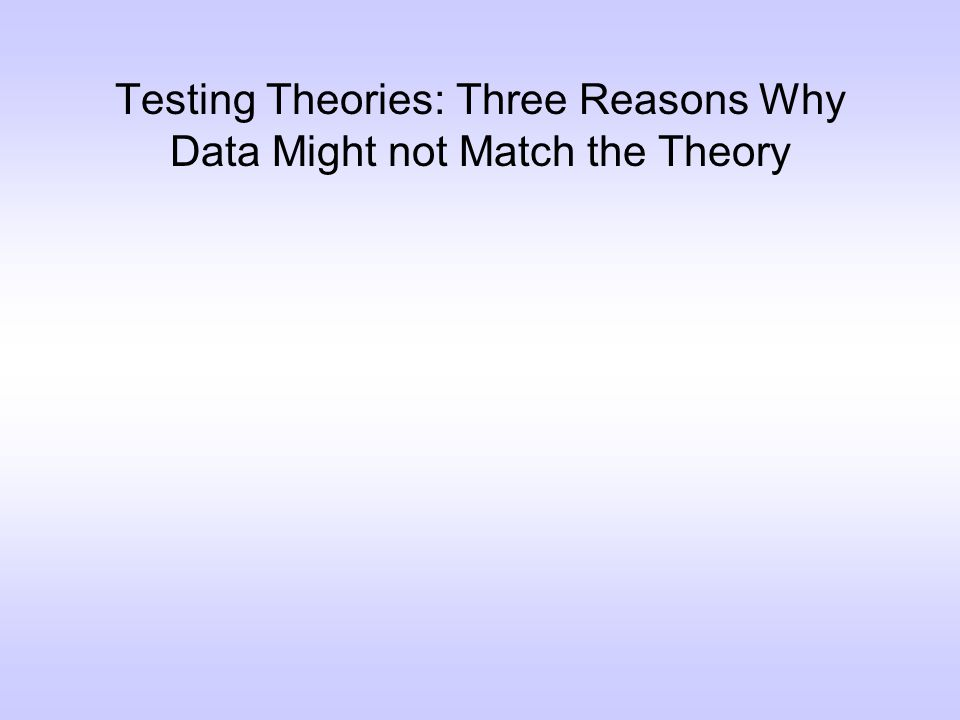 Testing Theories: Three Reasons Why Data Might not Match the Theory