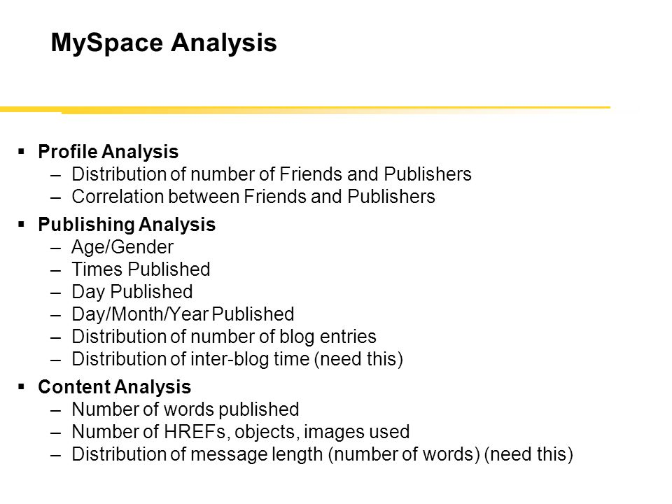MySpace Analysis  Profile Analysis –Distribution of number of Friends and Publishers –Correlation between Friends and Publishers  Publishing Analysis –Age/Gender –Times Published –Day Published –Day/Month/Year Published –Distribution of number of blog entries –Distribution of inter-blog time (need this)  Content Analysis –Number of words published –Number of HREFs, objects, images used –Distribution of message length (number of words) (need this)
