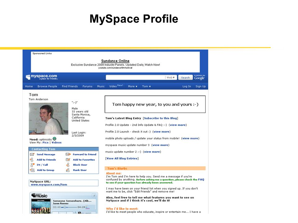 each user has a profile that contains age, gender, location, last login time, and other information each user has a unique id associated with the profile some profiles claim neutral gender, e.g., bands user can set his/her profile to be private (default is public) or customize the layout