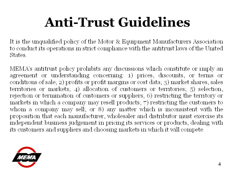 4 Anti-Trust Guidelines