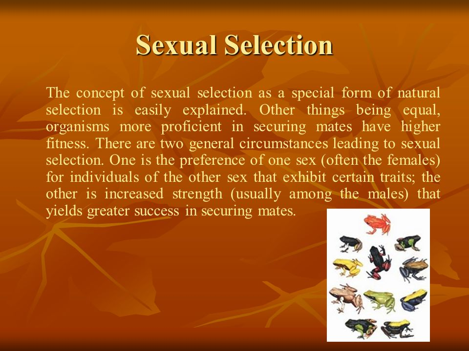 Sexual Selection The concept of sexual selection as a special form of natural selection is easily explained.