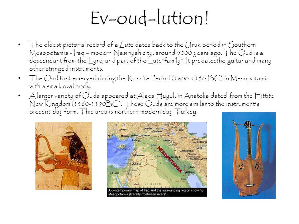 Ev-oud-lution! The oldest pictorial record of a Lute dates back to the Uruk period in Southern Mesopotamia - Iraq – modern Nasiriyah city, around 5000
