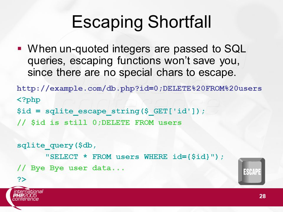 28 Escaping Shortfall  When un-quoted integers are passed to SQL queries, escaping functions won't save you, since there are no special chars to escape.
