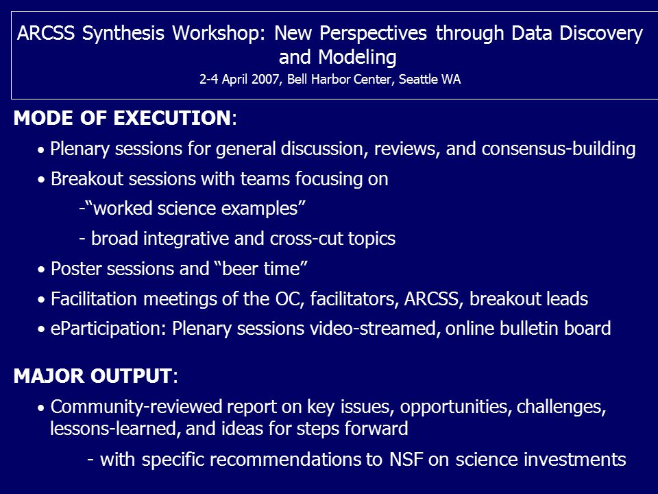 ARCSS Synthesis Workshop: New Perspectives through Data Discovery and Modeling 2-4 April 2007, Bell Harbor Center, Seattle WA MODE OF EXECUTION: Plena