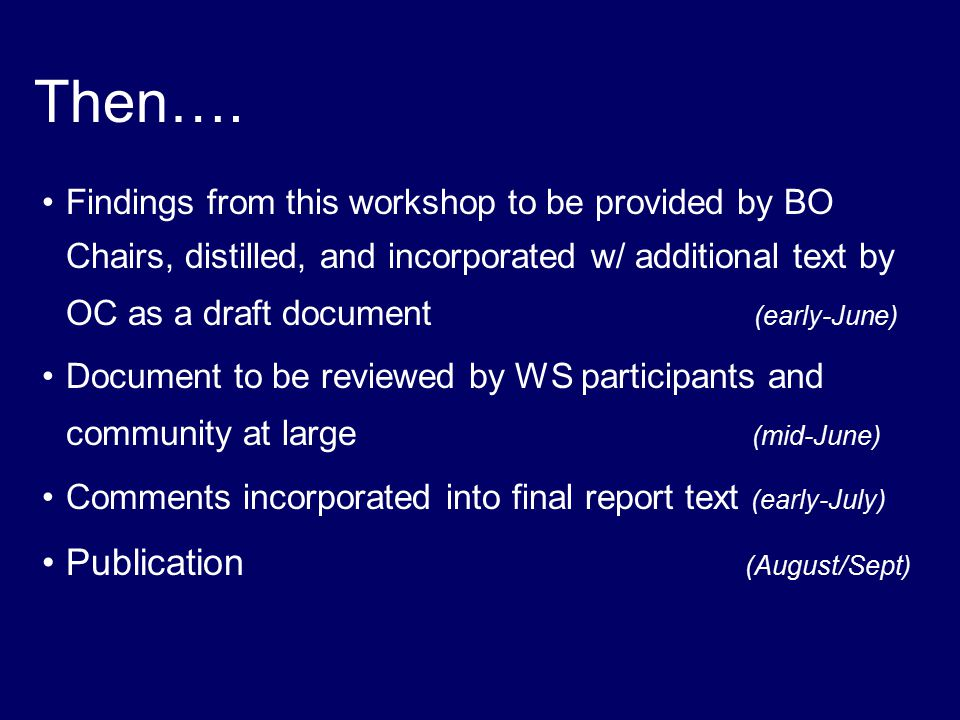Then…. Findings from this workshop to be provided by BO Chairs, distilled, and incorporated w/ additional text by OC as a draft document (early-June)