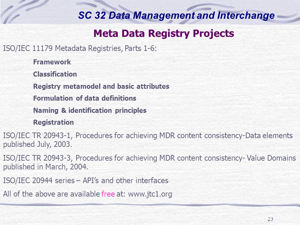 23 SC 32 Data Management and Interchange Meta Data Registry Projects ISO/IEC 11179 Metadata Registries, Parts 1-6: Framework Classification Registry m