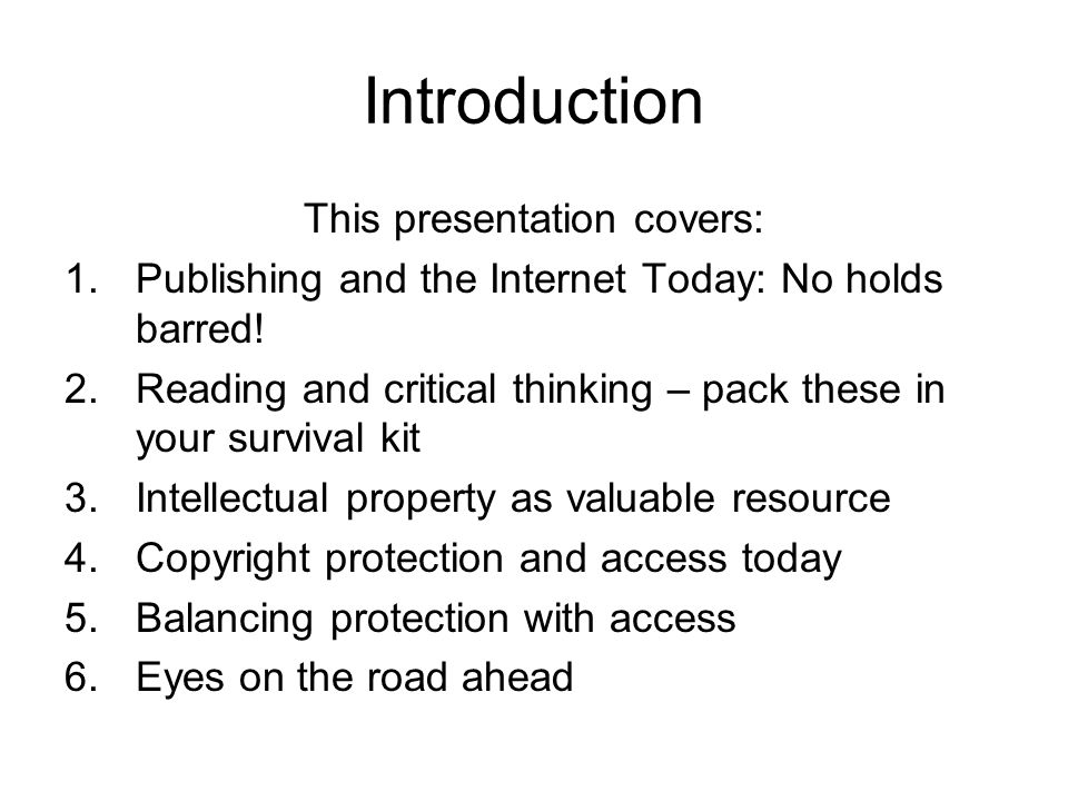 Publishing and the Internet Today 1.The Internet, intranets and other networked Communication Environments have greatly expanded space for information sharing and the publishing industry.