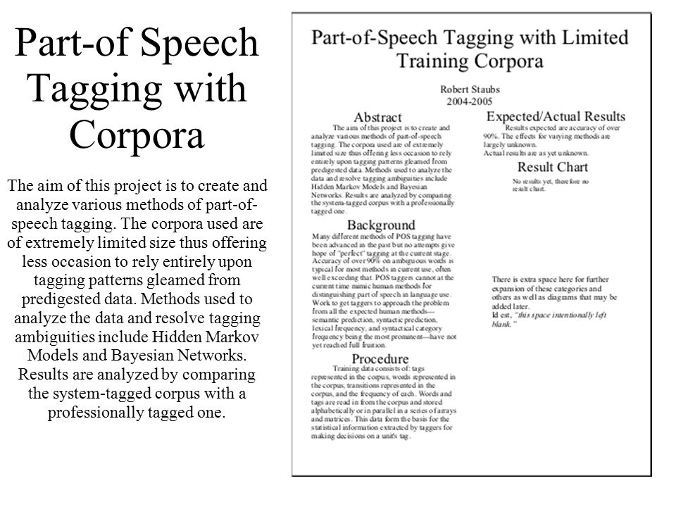 113 Part-of Speech Tagging with Corpora The aim of this project is to create and analyze various methods of part-of- speech tagging.