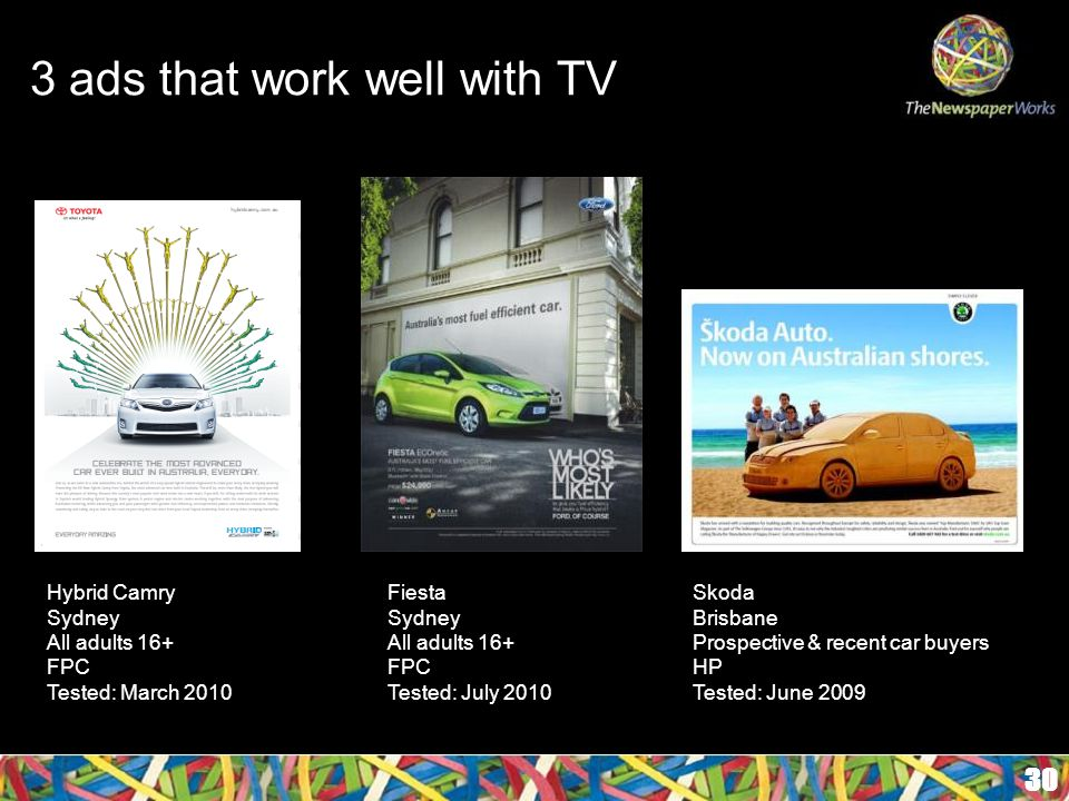 3 ads that work well with TV 30 Hybrid Camry Sydney All adults 16+ FPC Tested: March 2010 Fiesta Sydney All adults 16+ FPC Tested: July 2010 Skoda Brisbane Prospective & recent car buyers HP Tested: June 2009