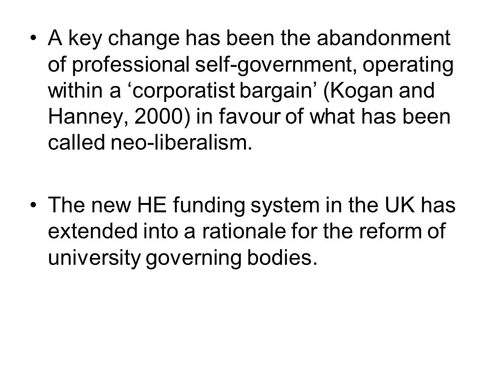 The UK government's HE policy agenda: Internationalisation, massification, and HE is treated as an international business in an internationally competitive market.