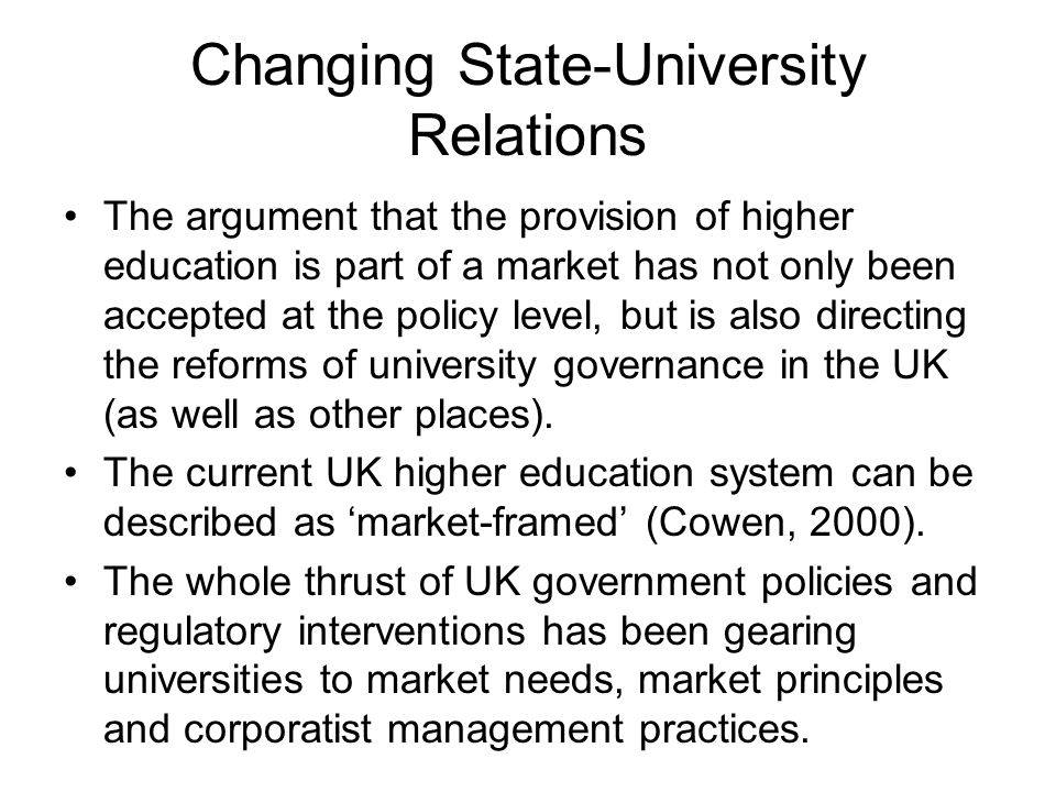 Changing university governance and management in the UK In the context of neoliberal, public sector reforms Rationale: The concurrent massification of